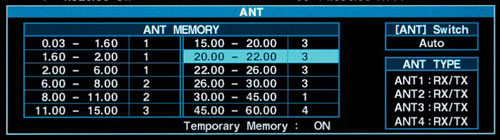Antenna Memory Setting Screen