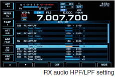 RX audio HPF/LPF setting