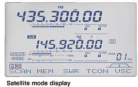 satellite mode display,Icome IC 9100