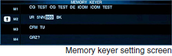 memory keyer setting screen